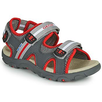 Schoenen Jongens Sandalen / Open schoenen Geox JR SANDALE STRADA Grijs / Rood