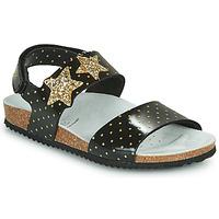 Schoenen Meisjes Sandalen / Open schoenen Geox J ADRIEL GIRL Zwart / Goud