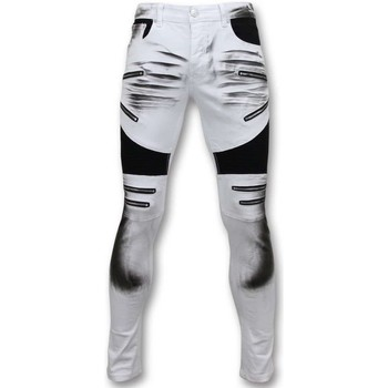 Textiel Heren Skinny jeans True Rise Fit Damaged Biker Jeans Broek Wit