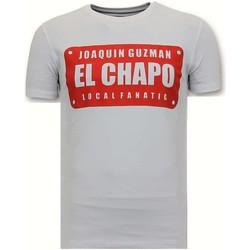 Textiel Heren T-shirts korte mouwen Local Fanatic Luxe Joaquin Guzman El Chapo Wit