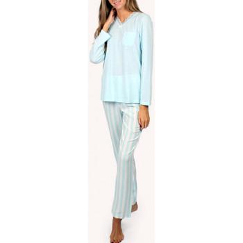 Textiel Dames Pyjama's / nachthemden Admas Pyjamatop en lange broek Classic Stripes blauw Blauw