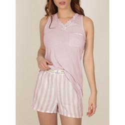 Textiel Dames Pyjama's / nachthemden Admas Pyjama shorts tank top Classic Stripes Lichtroze