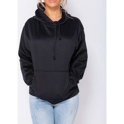 Textiel Dames Sweaters / Sweatshirts Parisian Oversized Draw String Hooded Swea Zwart