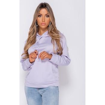 Textiel Dames Sweaters / Sweatshirts Parisian Oversized Draw String Hooded Swea Lila Paars