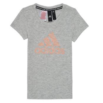 Textiel Meisjes T-shirts korte mouwen adidas Performance JG A MHE TEE Wit