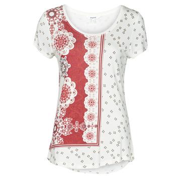 Textiel Dames T-shirts korte mouwen Desigual ESTAMBUL Wit