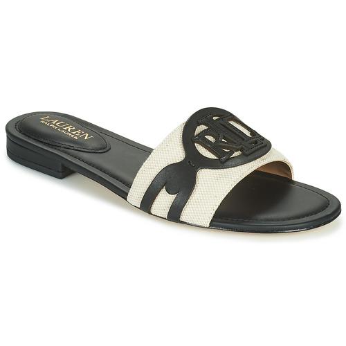 Schoenen Dames Leren slippers Lauren Ralph Lauren ALEGRA Zwart / Beige