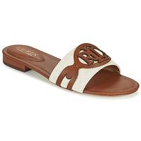 Schoenen Dames Leren slippers Lauren Ralph Lauren ALEGRA Cognac / Beige