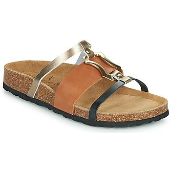 Schoenen Dames Leren slippers Metamorf'Ose JA Bruin