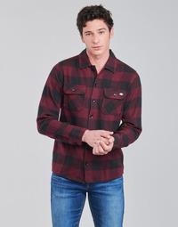 Textiel Heren Overhemden lange mouwen Dickies NEW SACRAMENTO SHIRT MAROON Bordeau / Zwart
