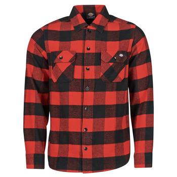 Textiel Heren Overhemden lange mouwen Dickies NEW SACRAMENTO SHIRT RED Rood / Zwart