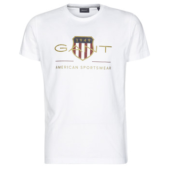 Textiel Heren T-shirts korte mouwen Gant ARCHIVE SHIELD Wit