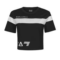 Textiel Dames T-shirts korte mouwen Emporio Armani EA7 3KTT05-TJ9ZZ-1200 Zwart / Wit