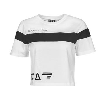 Textiel Dames T-shirts korte mouwen Emporio Armani EA7 3KTT05-TJ9ZZ-1100 Wit / Zwart