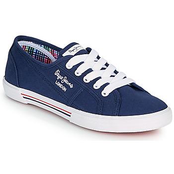 Schoenen Dames Lage sneakers Pepe jeans ABERLADY ECOBASS Marine