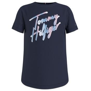 Textiel Meisjes T-shirts korte mouwen Tommy Hilfiger KG0KG05870-C87 Marine