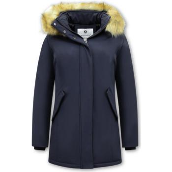 Textiel Dames Parka jassen Matogla Winterjas Imitatie Bontkraag Blauw