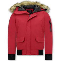 Textiel Heren Wind jackets Enos Korte Winterjas Faux Bontkraag Rood