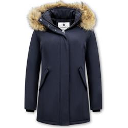 Textiel Dames Parka jassen Matogla Winterjas Echte Bontkraag Blauw