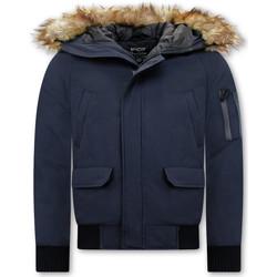 Textiel Heren Wind jackets Enos Korte Winterjas Faux Bontkraag Blauw