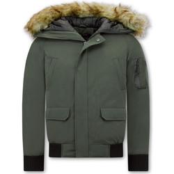Textiel Heren Wind jackets Enos Korte Winterjas Faux Bontkraag Groen