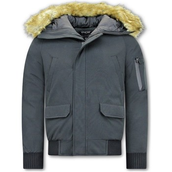 Textiel Heren Wind jackets Enos Korte Winterjas Faux Bontkraag Zwart