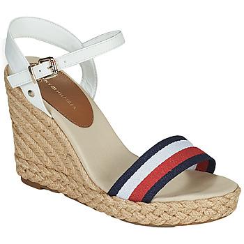 Schoenen Dames Sandalen / Open schoenen Tommy Hilfiger SHIMMERY RIBBON HIGH WEDGE Wit
