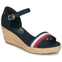 Schoenen Dames Sandalen / Open schoenen Tommy Hilfiger SHIMMERY RIBBON MID WEDGE SANDAL Marine