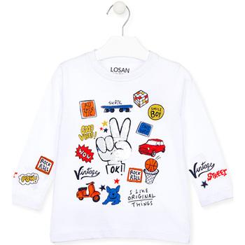 Textiel Kinderen T-shirts met lange mouwen Losan 025-1026AL Wit