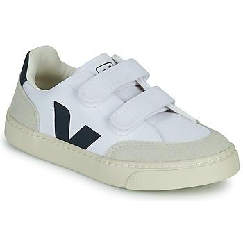 Schoenen Jongens Lage sneakers Veja SMALL V-12 VELCRO Wit / Blauw
