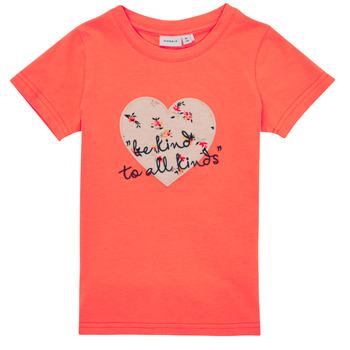 Textiel Meisjes T-shirts korte mouwen Name it NMFDELFIN TOP Koraal
