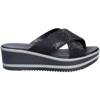 Schoenen Dames Leren slippers Grace Shoes 21114 Zwart