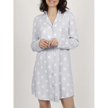 Textiel Dames Pyjama's / nachthemden Admas Klassieke Dots  nachthemd met lange mouwen Lichtgrijs