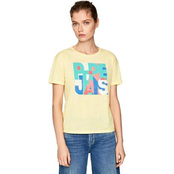 Textiel Dames T-shirts korte mouwen Pepe jeans PL504439 Geel