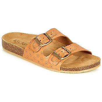 Schoenen Dames Leren slippers Kickers ECOLOG Camel / Clair