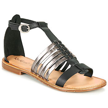 Schoenen Dames Sandalen / Open schoenen Kickers ETIKET Zwart / Zilver
