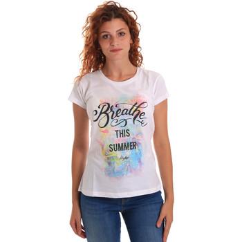 Textiel Dames T-shirts korte mouwen Key Up 5D59S 0001 Wit