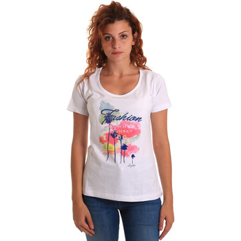 Textiel Dames T-shirts korte mouwen Key Up 5D58S 0001 Wit