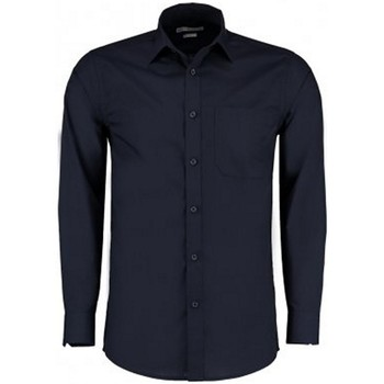 Textiel Heren Overhemden lange mouwen Kustom Kit K142 Donkere marine