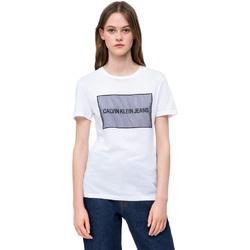 Textiel Dames T-shirts korte mouwen Calvin Klein Jeans J20J208606 Wit