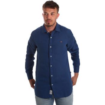 Textiel Heren Overhemden lange mouwen Napapijri N0YIL7 Blauw