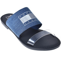 Schoenen Dames Leren slippers Tommy Hilfiger EN0EN00565 Blauw
