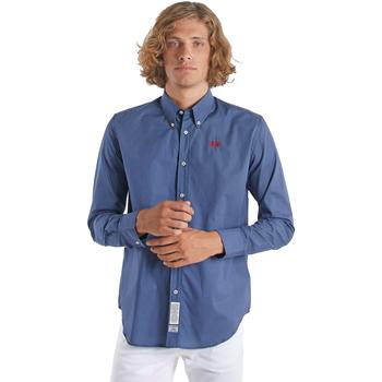 Textiel Heren Overhemden lange mouwen La Martina OMC015 PP461 Blauw