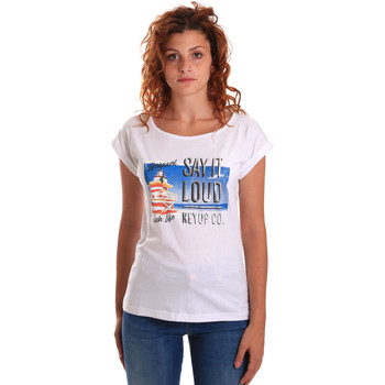 Textiel Dames T-shirts korte mouwen Key Up 5D72S 0001 Wit