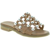 Schoenen Dames Leren slippers Mally 6141 Bruin