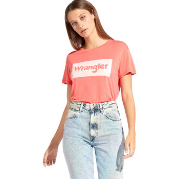 Textiel Dames T-shirts korte mouwen Wrangler W7016D Rood