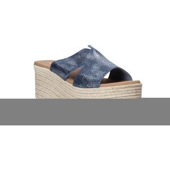 Schoenen Dames Leren slippers Valleverde 34270 Blauw