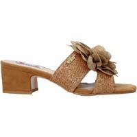 Schoenen Dames Leren slippers Love To Love EVA575 Bruin