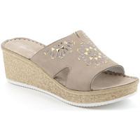 Schoenen Dames Leren slippers Grunland CI1770 Beige