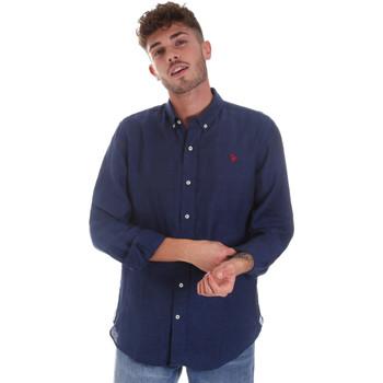 Textiel Heren Overhemden lange mouwen U.S Polo Assn. 58574 50816 Blauw
